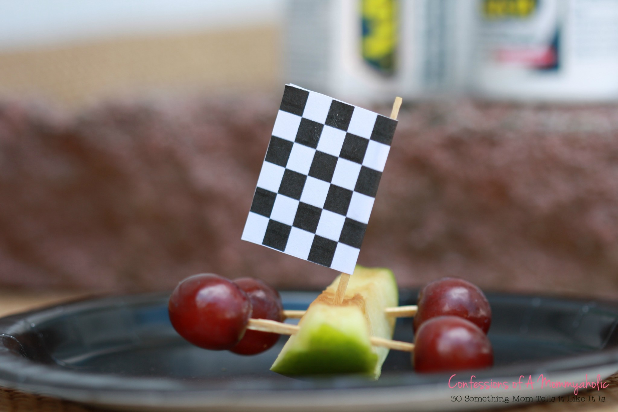 Black and White Flag Race Car