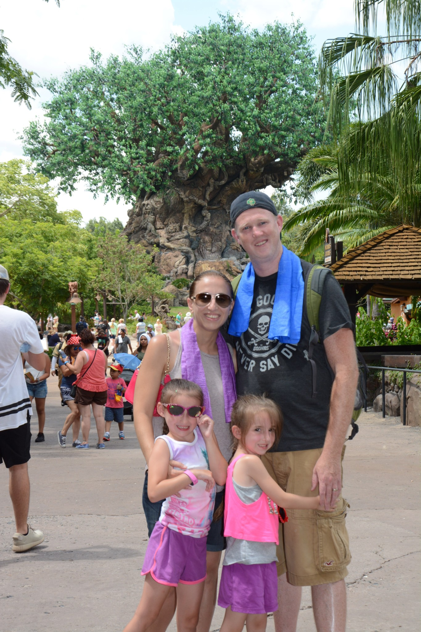 Disney World Animal Kingdom Family Photo in Front of The Tree of Life