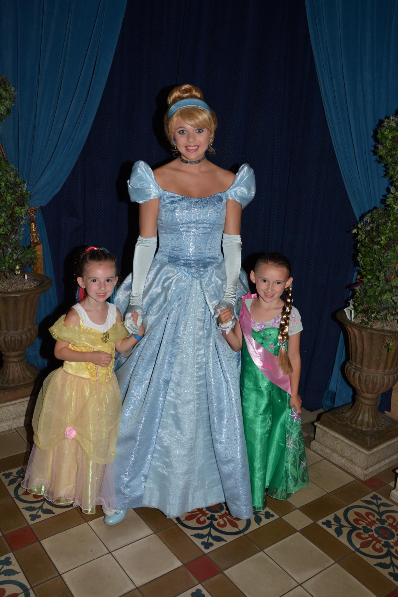 Princess Posing with Cinderella at Magic Kingdom Castle