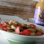 Tessemae's Honey Balsamic Grilled Shrimp, Strawberry and Cranberry Gorgonzola Pasta Salad