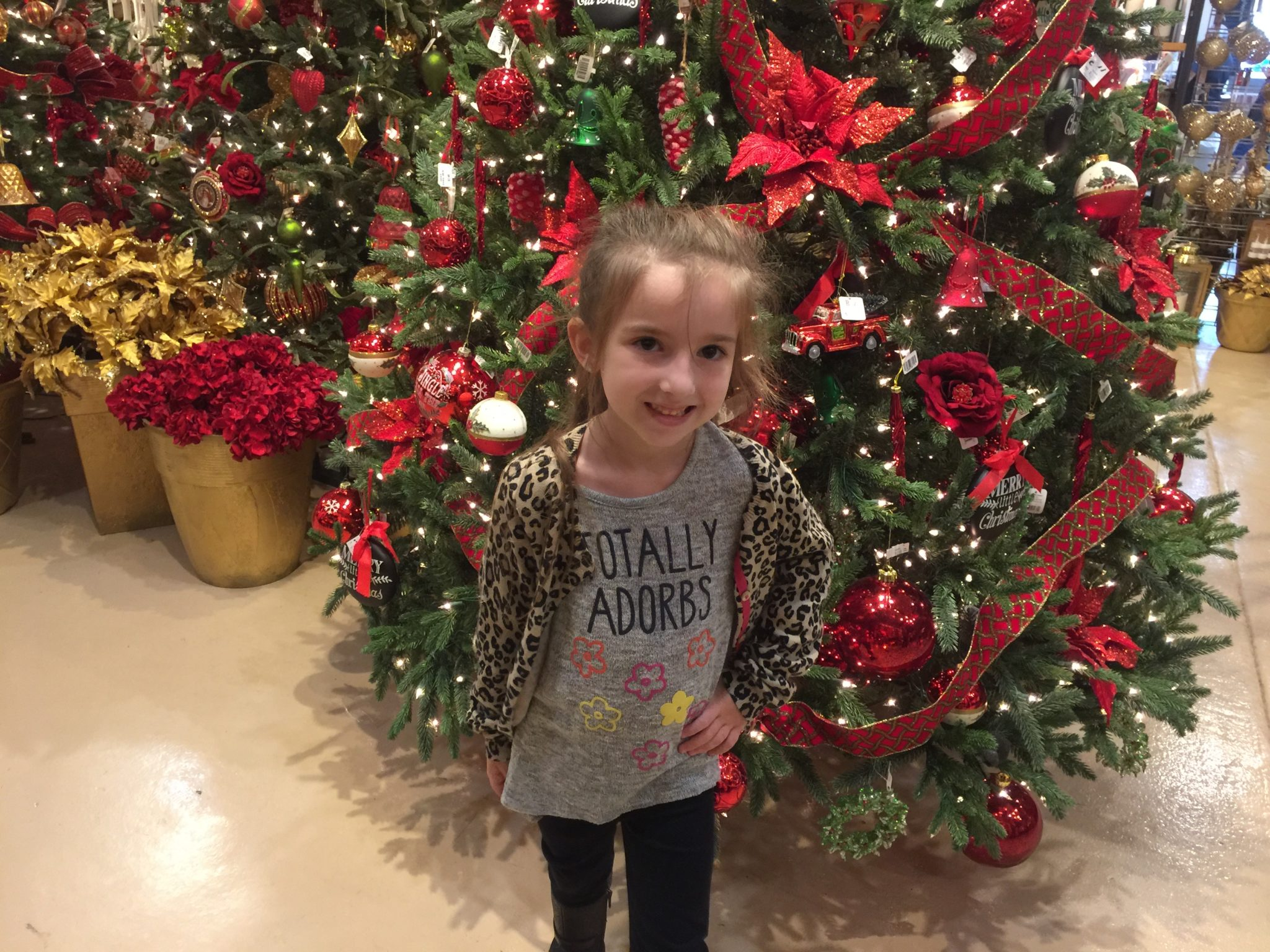 Lily at Hicks in front of a Christmas Tree