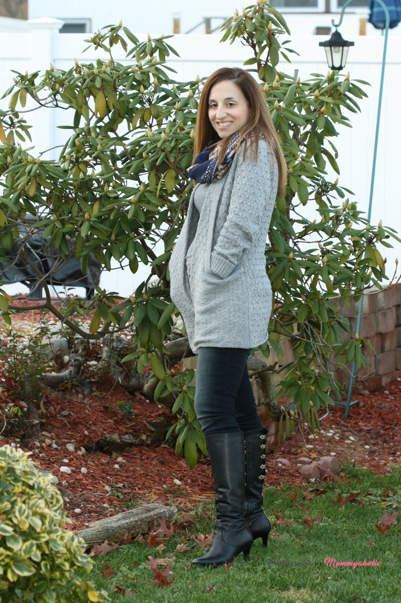 Lawley Cable Knit Open Cardigan, Nina Floral Print Infinity Scarf, Liza black Skinny Jean with Black Knee High Heeled Boots