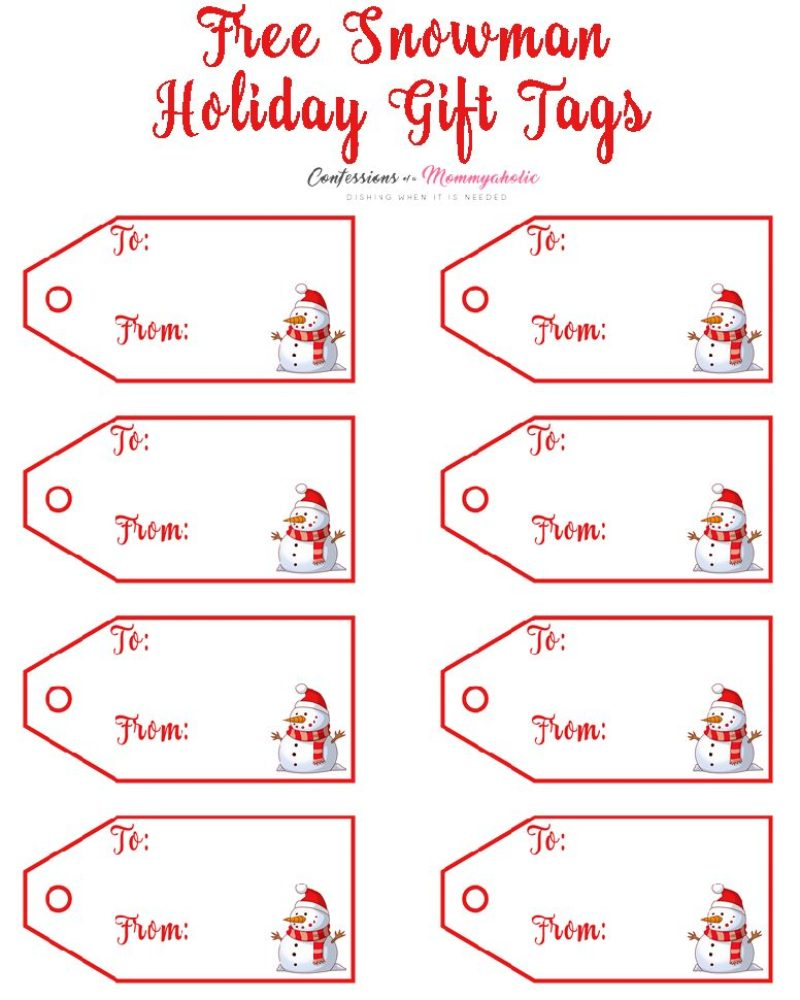 Snowman Gift Tags Printable Labels