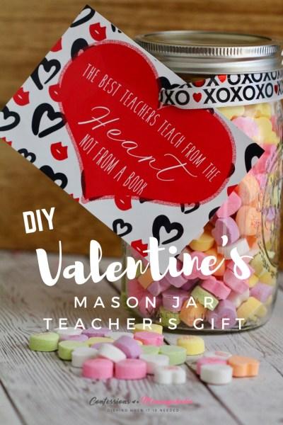 DIY Valentine Mason Jar Teacher Gift