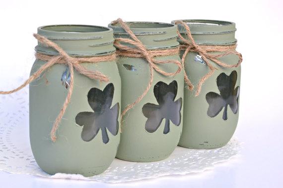 St Patricks Day Mason Jar