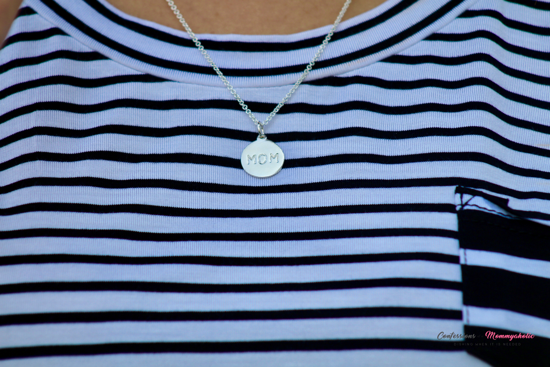 Helen Ficalora Mom Necklace Worn