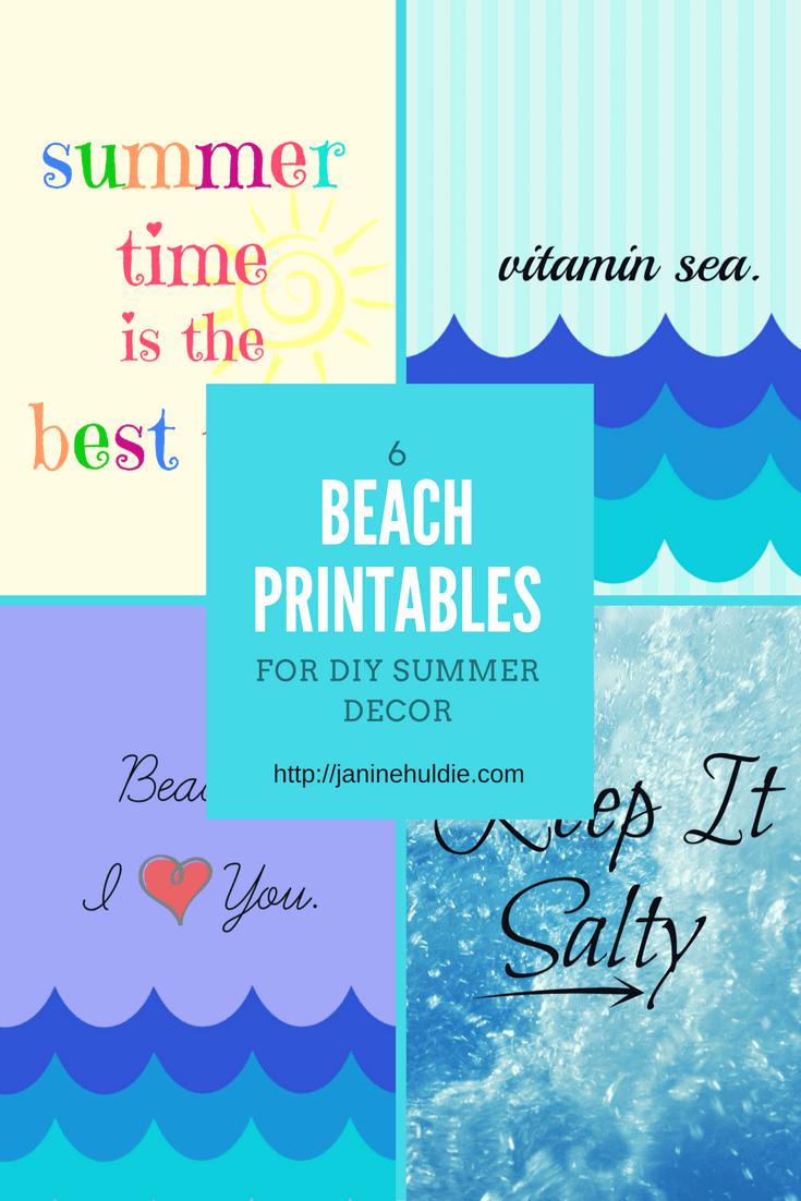 graphic regarding Diy Printables named 6 Seashore Printables for Do it yourself Summer season Decor TSSBH - COAM