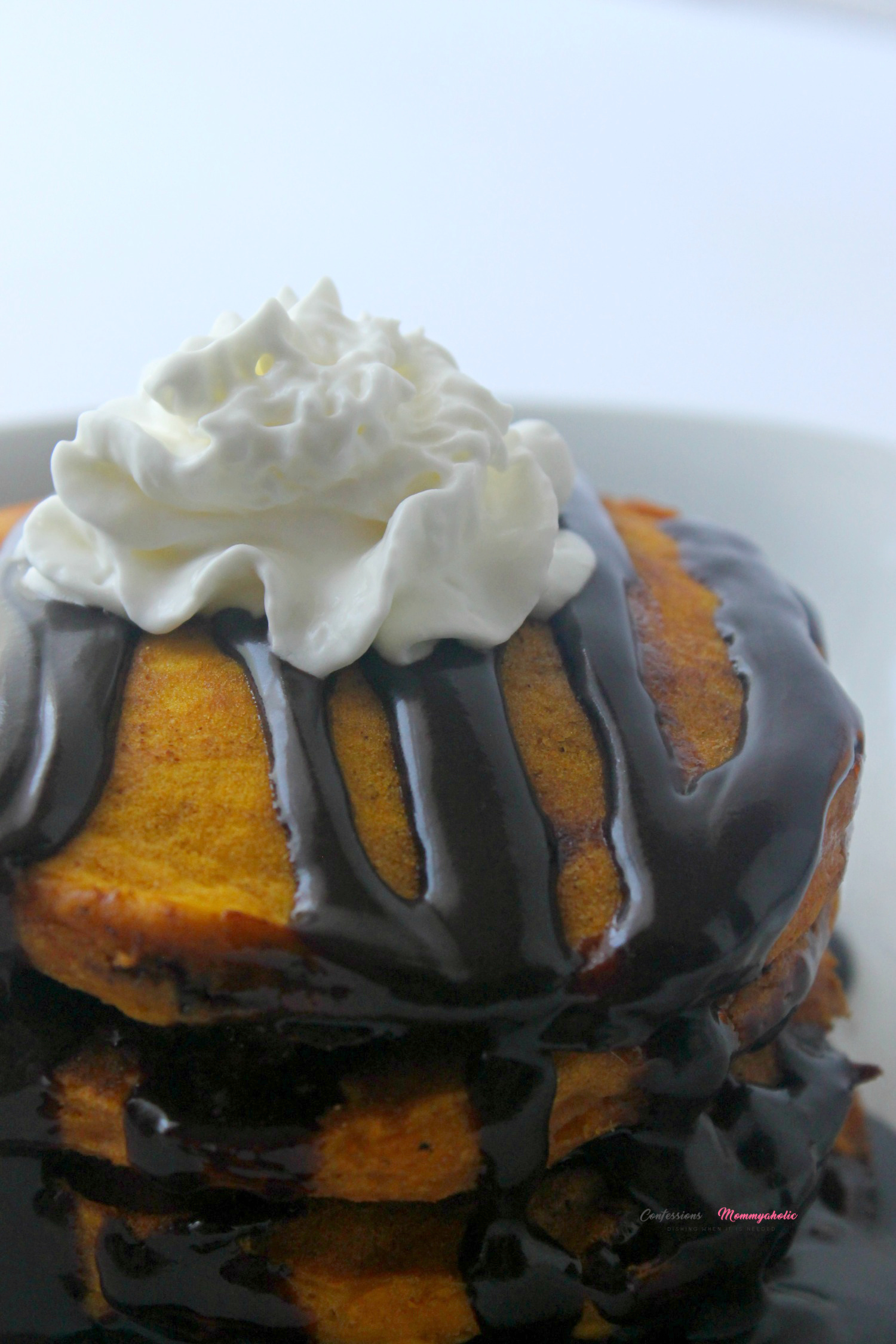 Chocolate Chip Pumpkin Spice Pancakes Recipe Vertical Side View