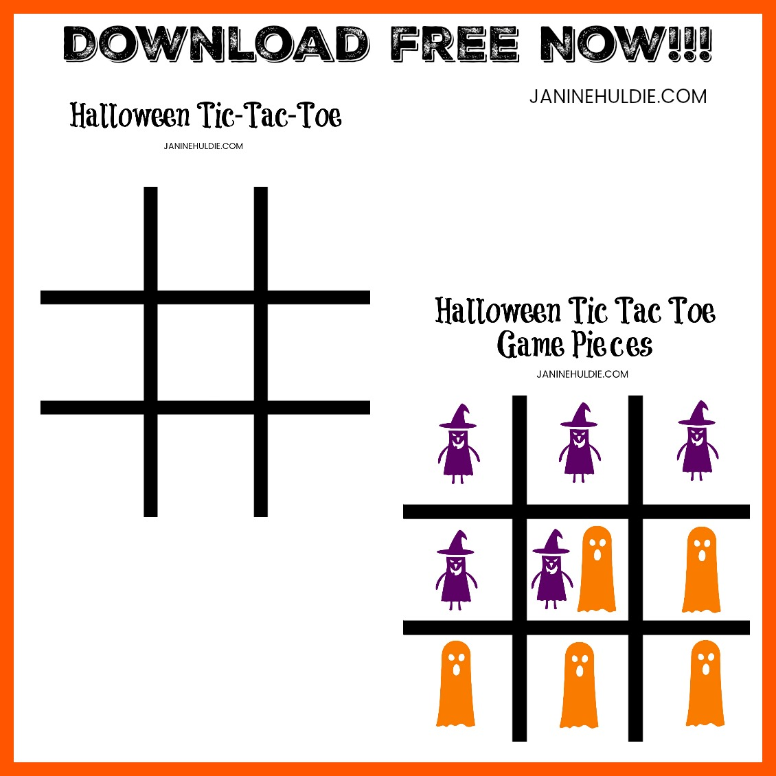 Halloween Game Tic Tac Toe Square Download Image