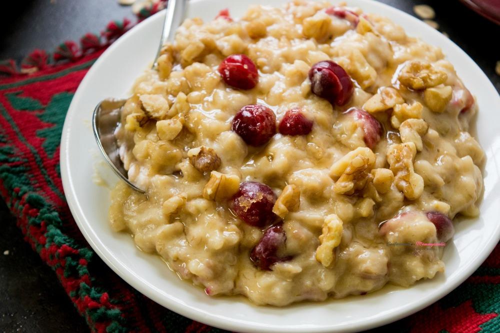 Closeup of Easy Overnight Cranberry Eggnog Oatmeal Recipe