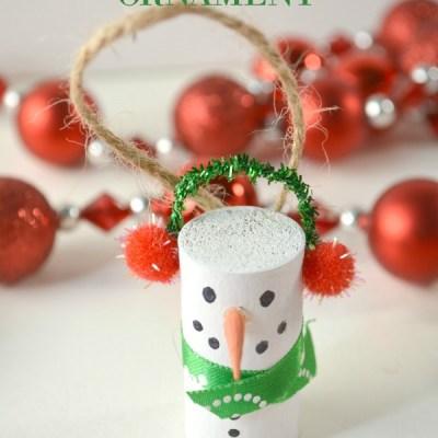 DIY Wine Cork Snowman Ornament