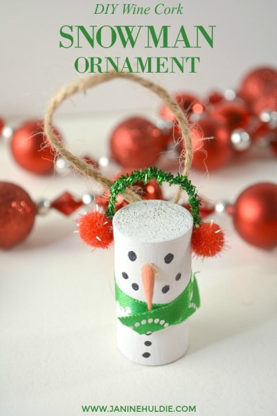 DIY Wine Cork Snowman Ornament