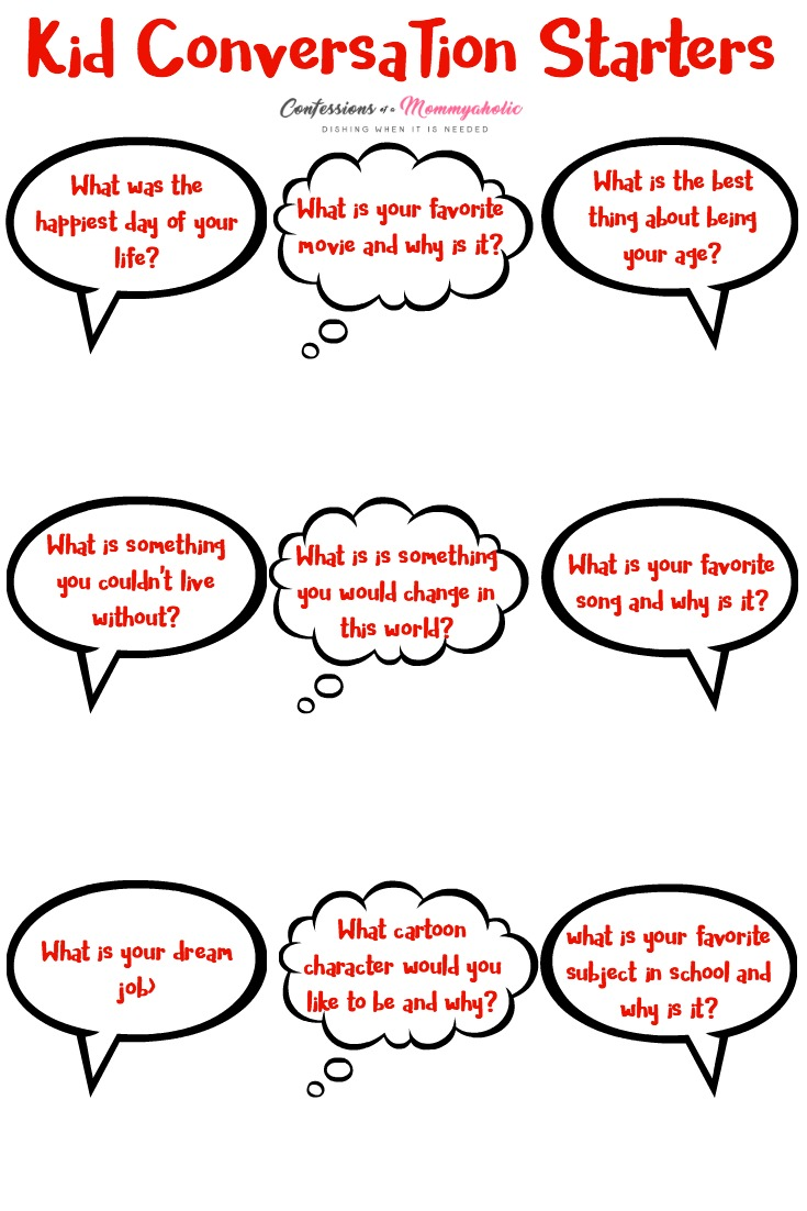 Kid Conversation Starters Printable