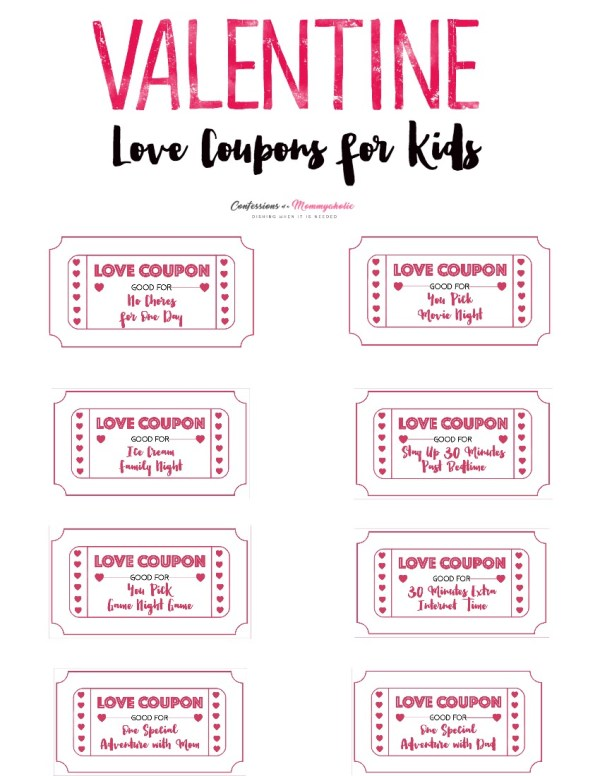 Valentine Love Coupons for Kids