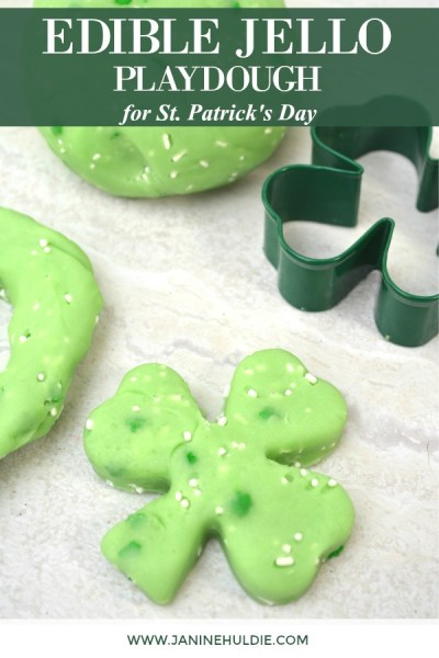 Green Edible Jello Playdough for St. Patrick's Day Featured Image