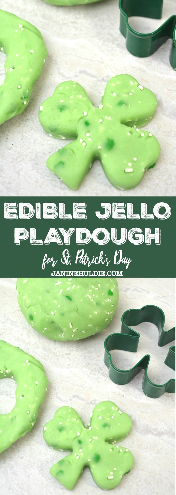 Green Edible Jello Playdough for St. Patrick's Day