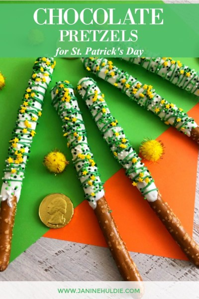 Festive St. Patrick's Day White and Green Chocolate Covered Pretzels Featured Image