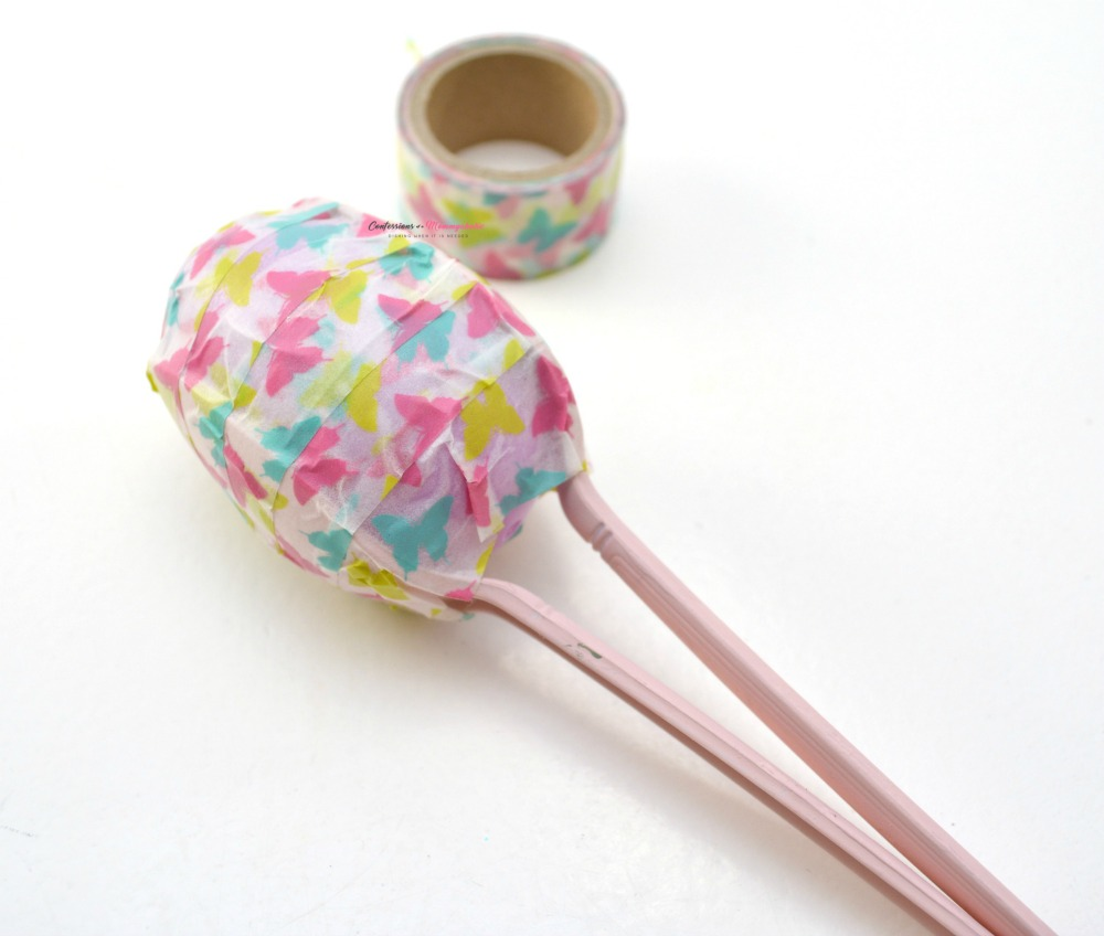 Washi Tape Easter Egg Maracas Craft for Kids Step 5