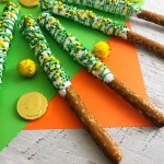 White and Green Chocolate Covered Pretzels Recipe Horizontal