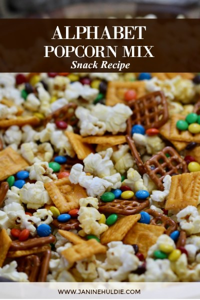 Alphabet Popcorn Snack Mix Recipe Featured Image
