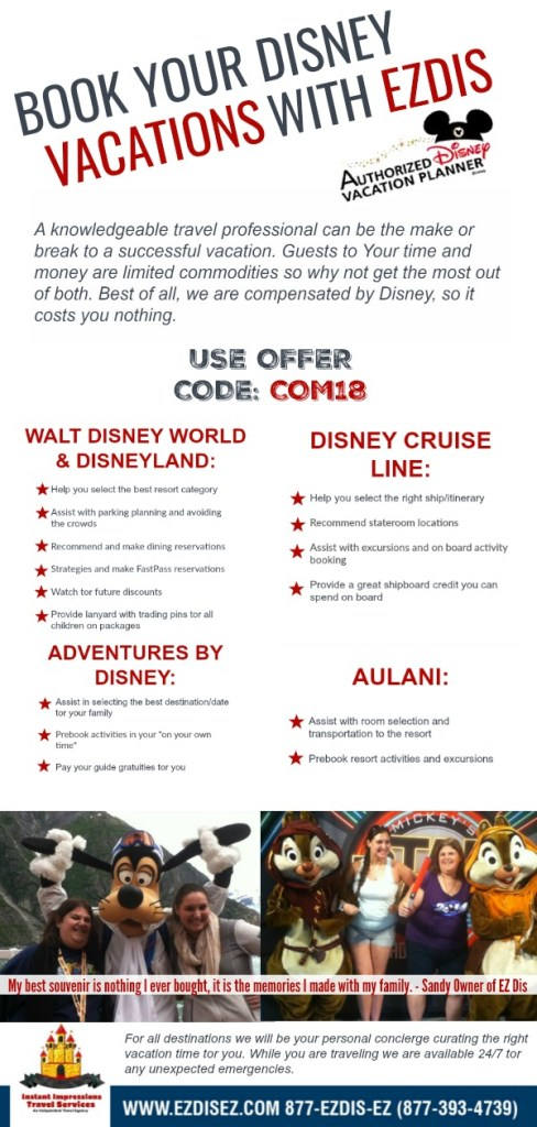 EZDIZ Pin for booking all Disney Related Travel with an Offer Code