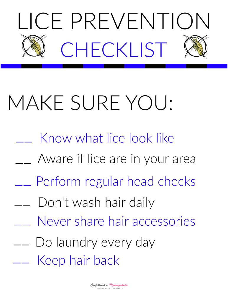 Lice Prevention Checklist copy copy