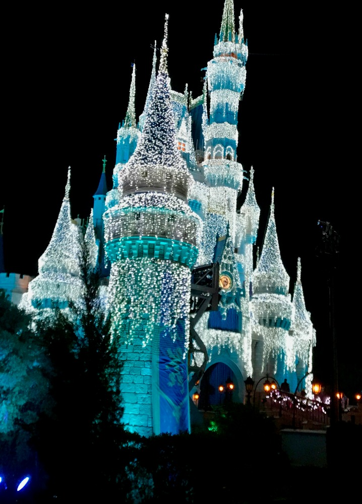 Cinderellas Castle Decorated for Mickey Very Merry Christmas Party