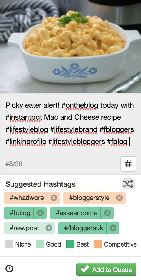 Tailwind Instagram Suggested Hashtags