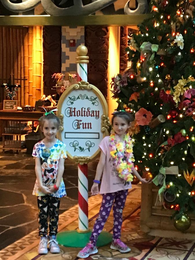 The Girls in Front of Christmas Tree at Walt Disney Polynesian Resort