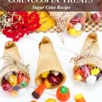 Thanksgiving Sugar Cone Cornucopia Treats for Kids