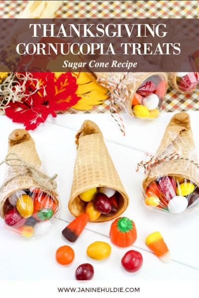 Thanksgiving Sugar Cone Cornucopia Treats Recipe Featured Image