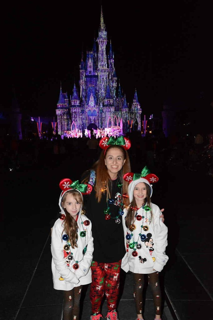 Walt Disney World Magic Kingdom Cinderella Castle Lit up for Mickeys Very Merry Christmas Party