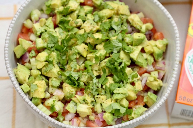 Cucumber Tomato Salad with Diced Avocados From Mexico