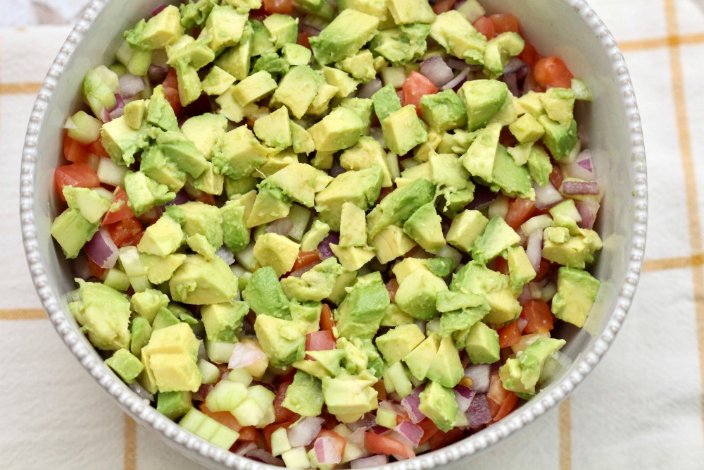 Closeup of Cucumber Tomato Salad with Diced Avocados From Mexico in Bowl 1