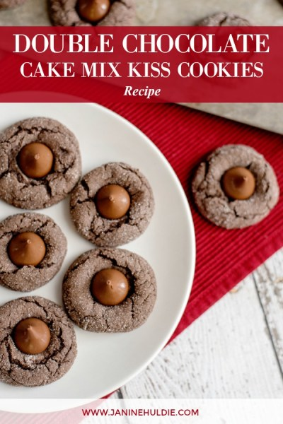 Double Chocolate Cake Mix Kiss Cookies Recipe Featured Image