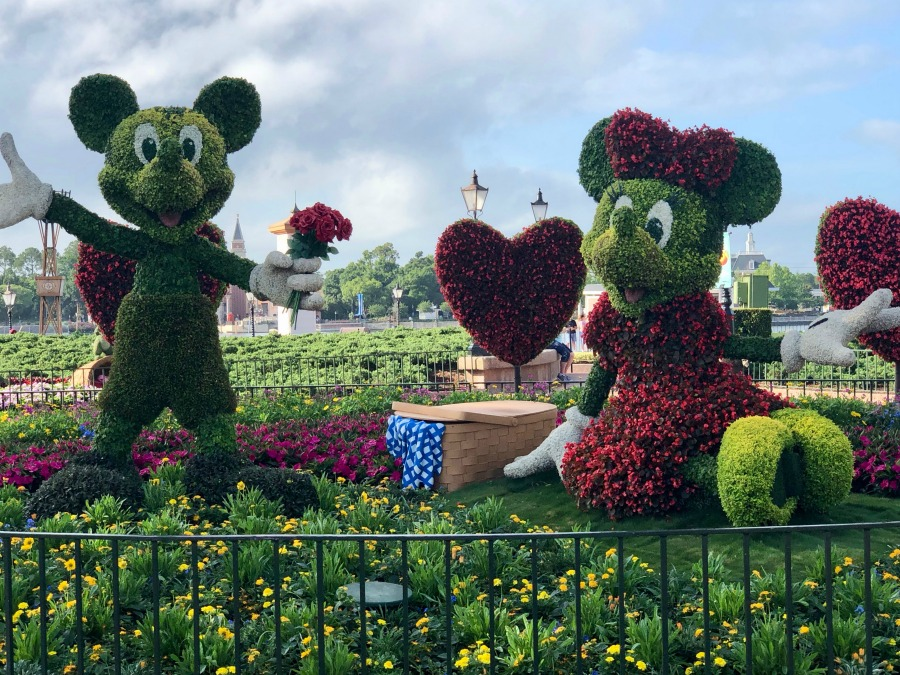 Epcot Flower and Garden Festival Mickey and Minnie Mouses at the Entrance of the World Showcase