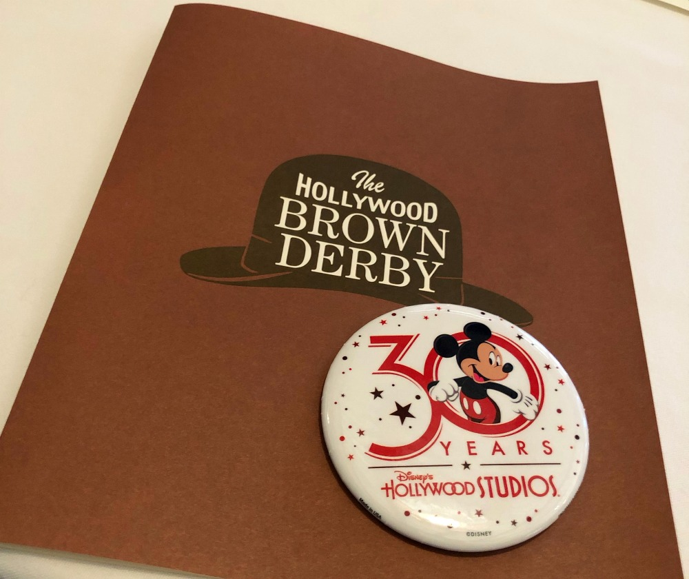 The Hollywood Brown Derby Menu on Hollywood Studios 30 Anniversary