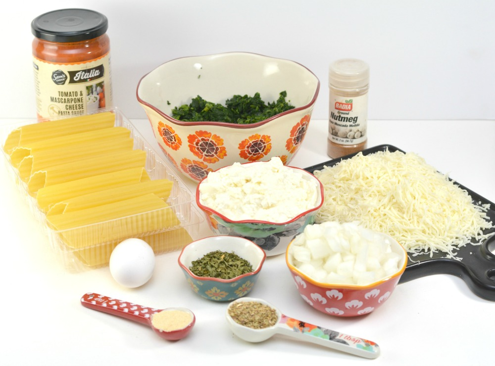 Spinach and Ricotta Manicotti Recipe Ingredients