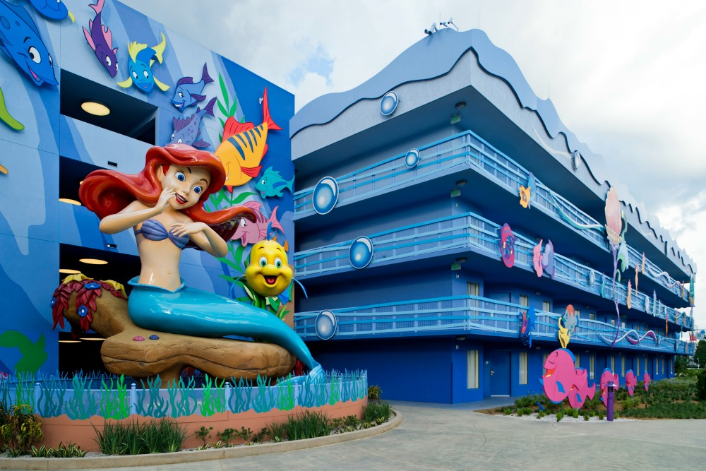 """Surrounded by Flounder and friends, a larger-than-life Ariel overlooks """"The Little Mermaid"""" courtyard and Flippin' Fins pool at Disney's Art of Animation Resort. Beginning Sept. 15, 2012, guests can dive """"under the sea"""" with Ariel and become part of her world when the resort's final phase opens with 864 standard hotel rooms. Disney's Art of Animation Resort is a value property located at Walt Disney World Resort in Lake Buena Vista, Fla. (Matt Stroshane, photographer)"""