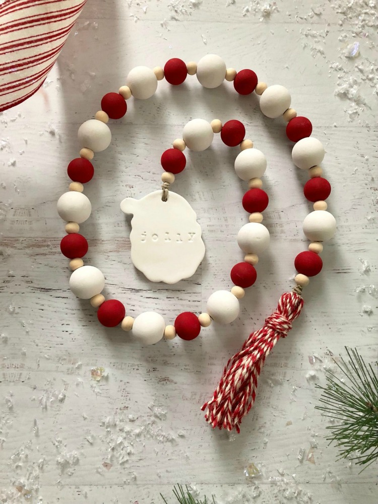 Jolly Santa Farmhouse Christmas Wood Beaded Garland