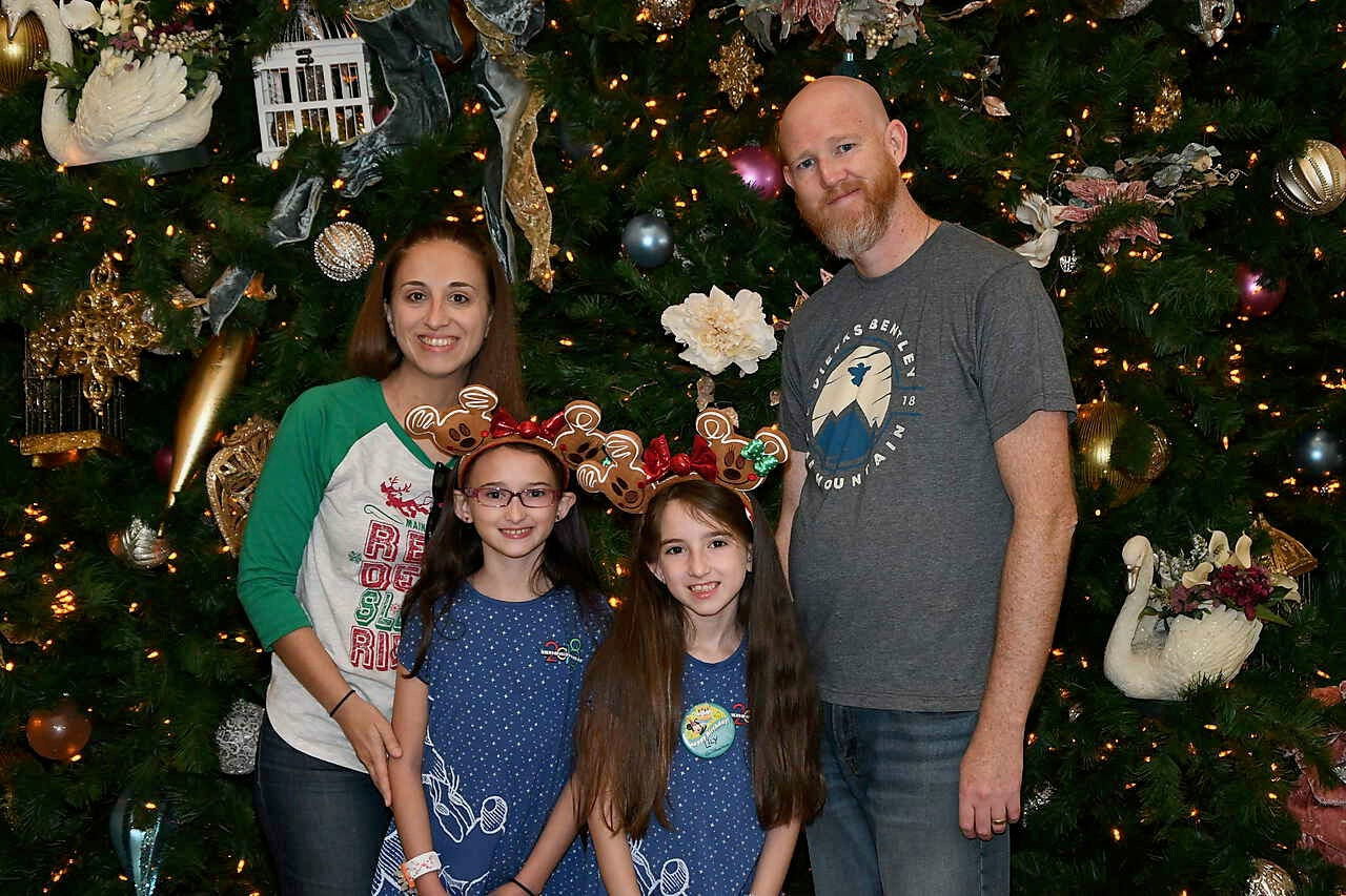 Disney World Grand Floridian Christmas Tree Family Photo