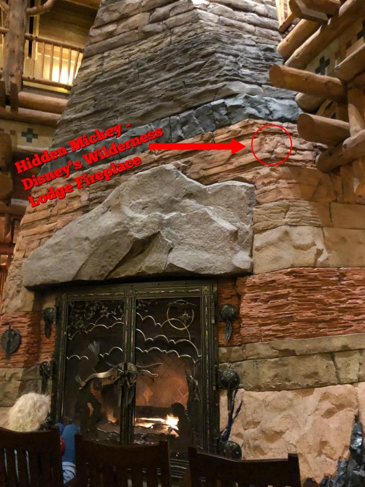 Hidden Mickey Disney's Wilderness Lodge Fireplace