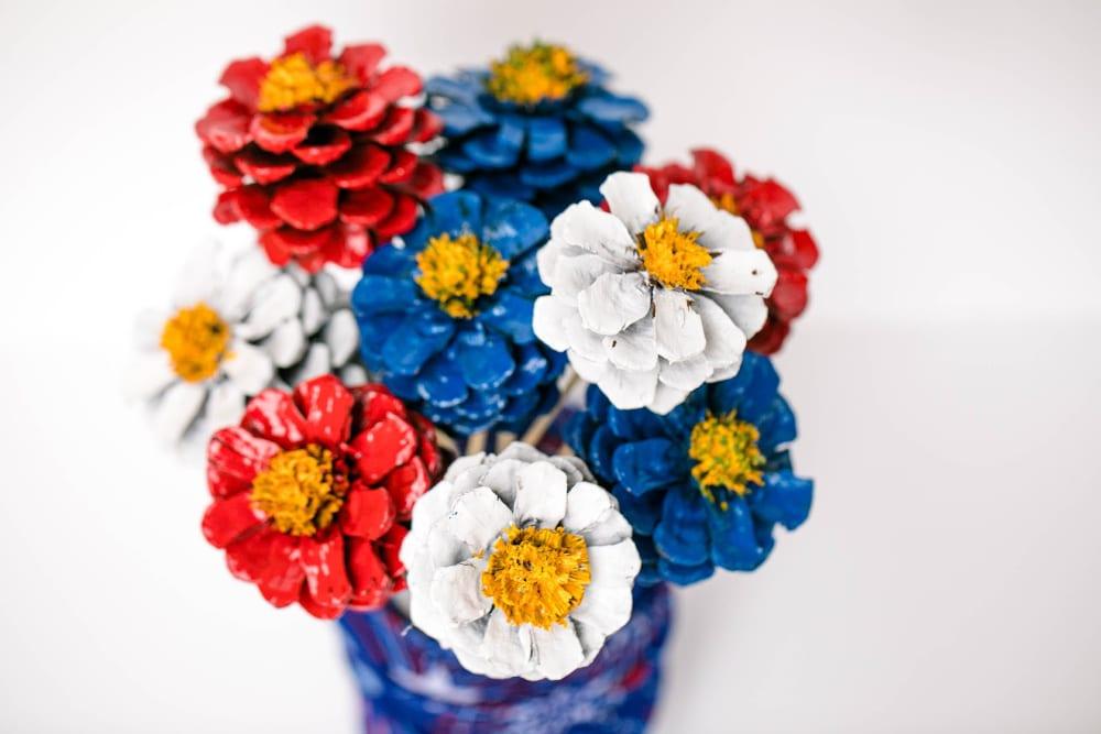Patriotic Pinecone Floral DIY Decor Display 8