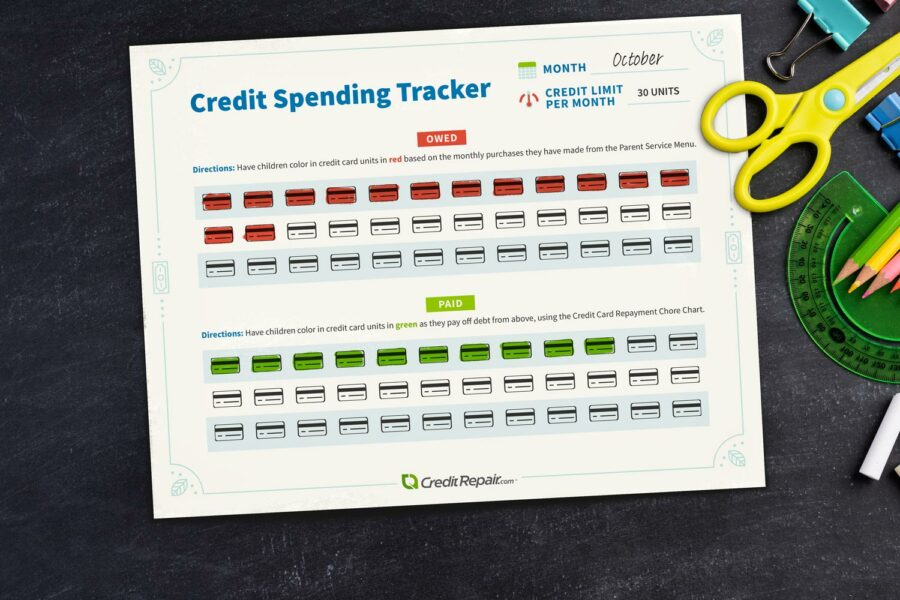 credit-spending-tracker-on-black-table-with-school-supplies-900x600