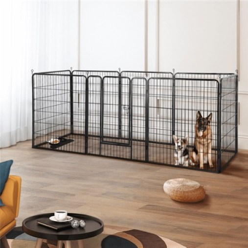 Dogs in Fenced Crate