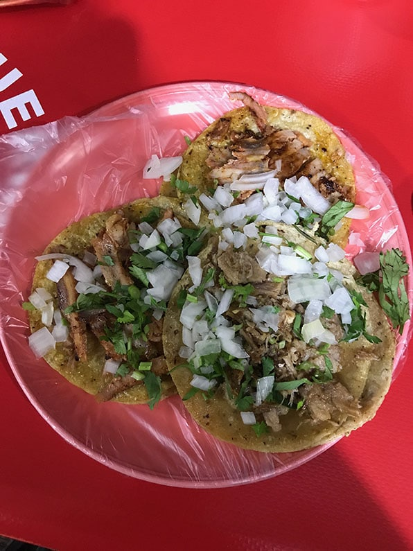 Plates covered in plastic bags are common in Mexican taquerias
