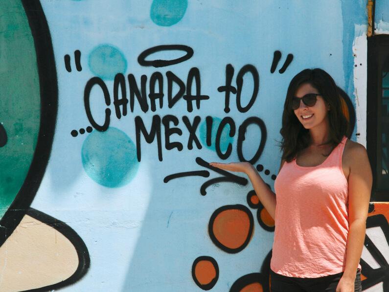 Canada to Mexico street art in Playa del Carmen, Mexico