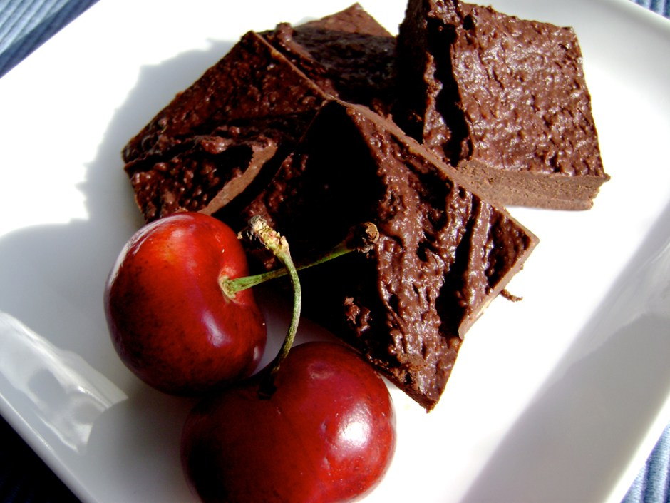 Raw chocolate brownies and cherries