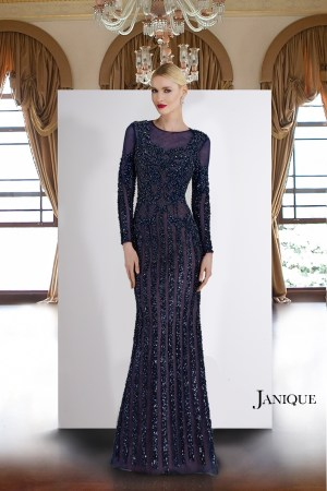 Beaded long dress with sleeve by Janique. Designer sequin gown. Embroidered applique sheer long sleeve gown in navy.