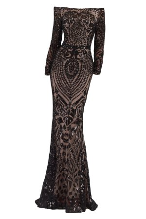 Mother of the Bride dress. Off shoulder beaded long evening wear dress. Long sleeve gown in black and nude by Janique. Embroidered sequin designer gown.